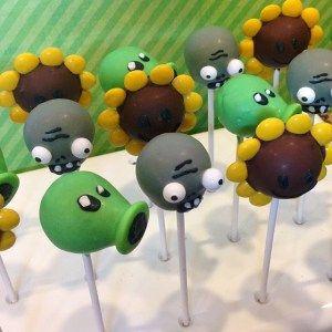 Plants vs. Zombies cake pops I Let Them Eat Pops
