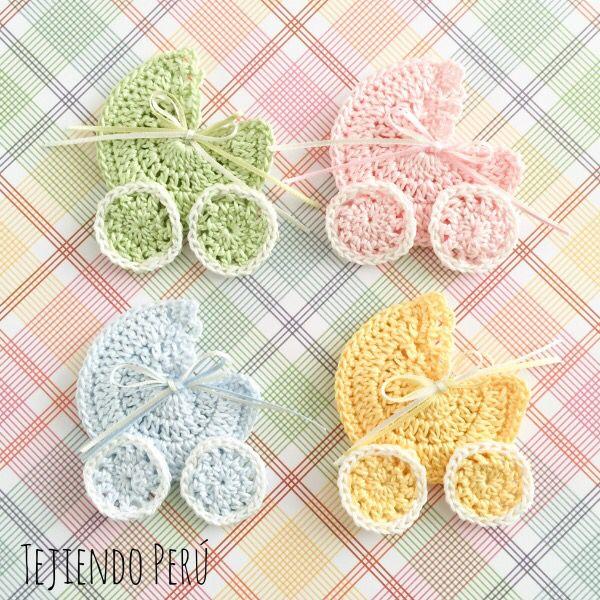 Souvenir de baby shower o nacimiento tejido a crochet: cochecito de bebe! English subtitles video: crochet baby stroller souvenir!