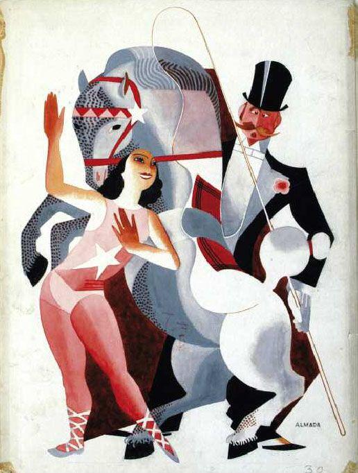 José de Almada Negreiros: Arte nuevo, estampa de circo Blanco y Negro, núm. 2.026, 16 de marzo de 1930 Acuarela, gouache y tinta sobre cartón, 447 x 344 mm / Citer le book d'Alfonso