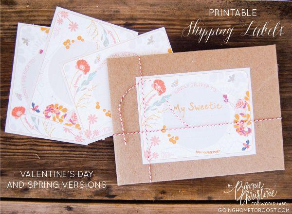 Etiquetas imprimibles para paquetes y envíos con tonos florales - free printable shipping labels