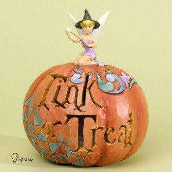 "Disney ""Tink Or Treat"" Tinker Bell light-up Pumpkin Figurine by Jim Shore"