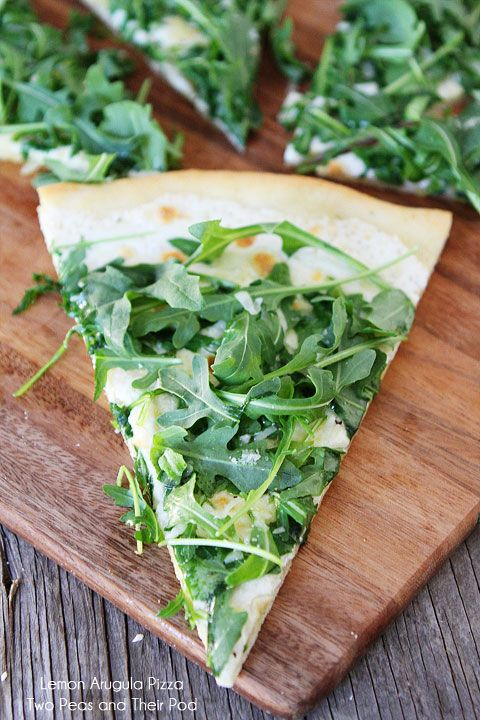 Lemon Arugula Pizza Recipe on twopeasandtheirpod.com  Come get a slice!