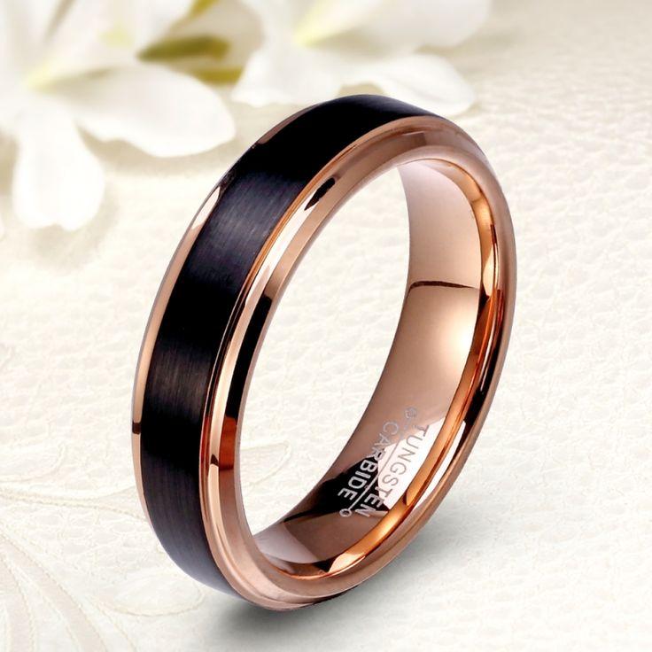 Különleges, fekete-rozé arany bevonatú férfi tungsten karikagyűrű
