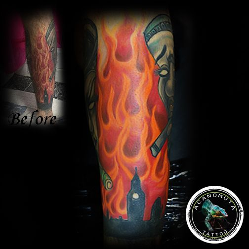 Fire tattoo suggested for cover up your tattoos.
