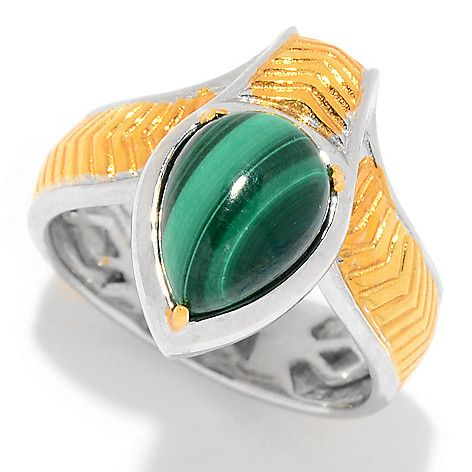 160-679 - Gems en Vogue Cleopatra 10 x 7mm Pear Shaped Malachite Snake Ring