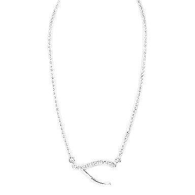 Wishbone Zilveren Ketting met Zirkonia