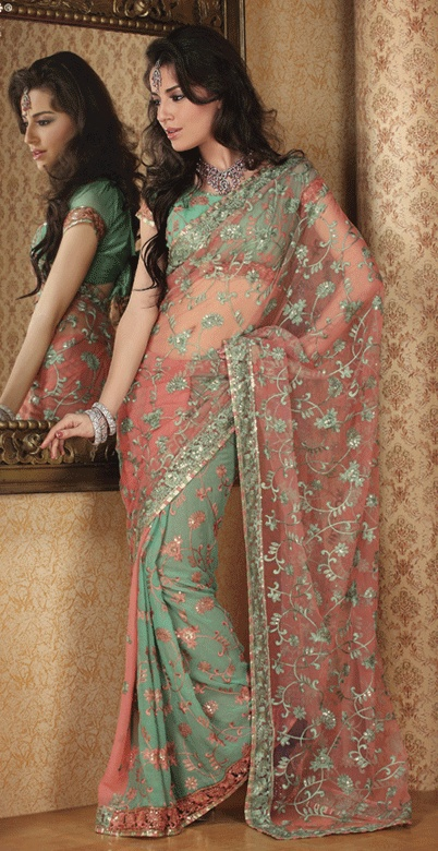 Pink And Green Color Net And Faux Georgette Sarees
