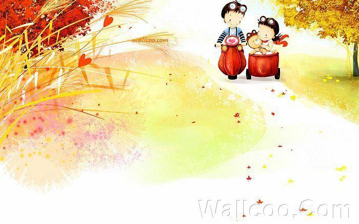Kim Jong Bok Illustrations(Vol.04) : Sweet Puppy Love   - Childhood Sweetheart - Sweet Couples Cartoon Wallpaper  17