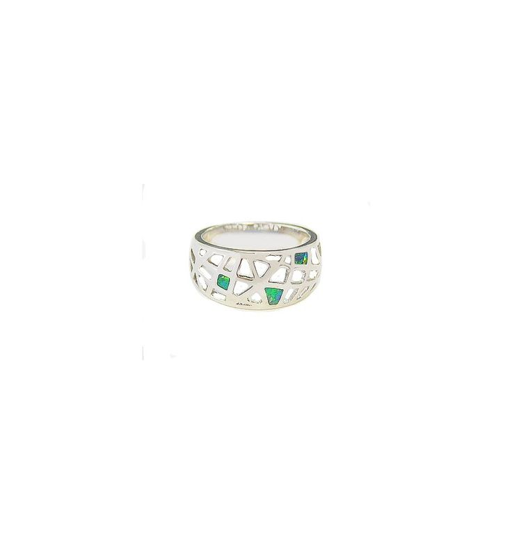 Silver Bubbly Ring with stunning opals