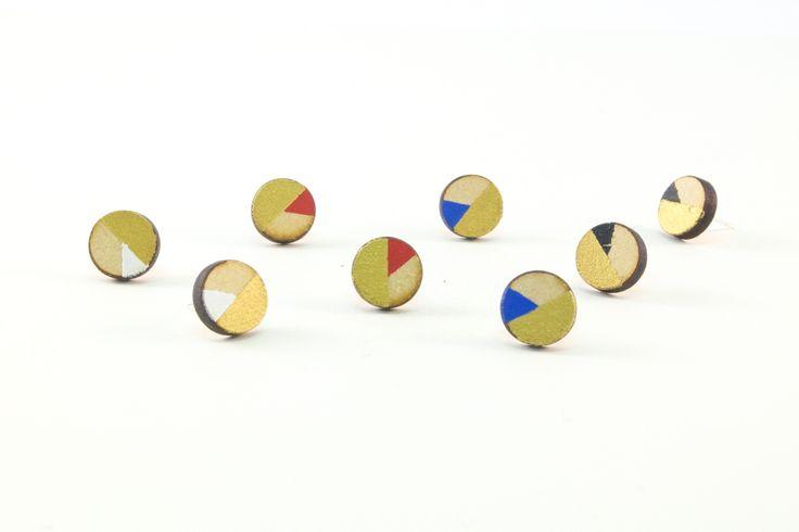 Wooden Stud Earrings | Handmade Painted Circle Gold Edition Geometric Shape Earrings