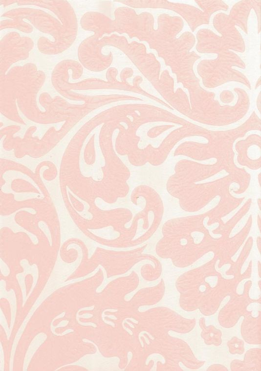 I like this for girls bathroom.  What do you think? Silvergate Wallpaper Pale pink damask design wallpaper on off white