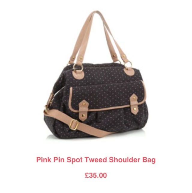 Pink Pin Spot Tweed Shoulder Bag 70