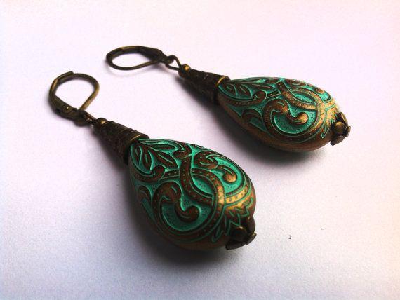 Vintage Style Earrings Antique Gold Drop by JewelleryByKassandra