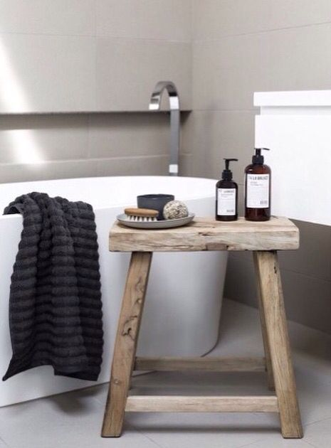 wooden bath stool