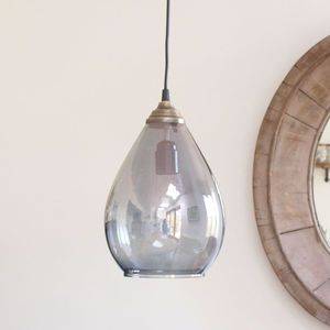 Smoke Grey Glass Pendant Light With Brass Fittings And Ceiling Rose