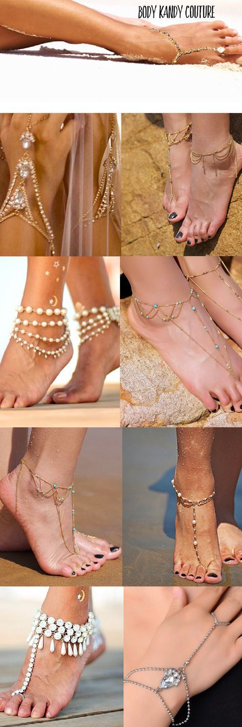 Must-Have's for the Bride. Inspiring Beach Wedding Sandals are fabulous to jewel up your Feet. Shop wedding Barefoot Sandals beach wedding sandals Payal Anklet Brides indian