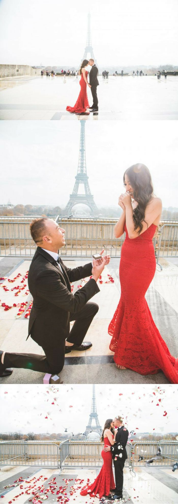 He asked her to marry him in front of the Eiffel Tower, and it's absolutely amazing! This is the best destination proposal ever.