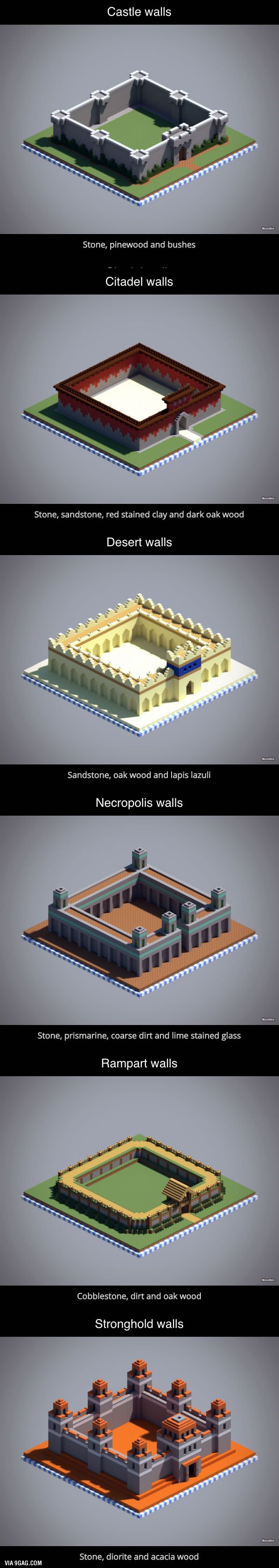 6 unique wall designs in Minecraft - 9GAG