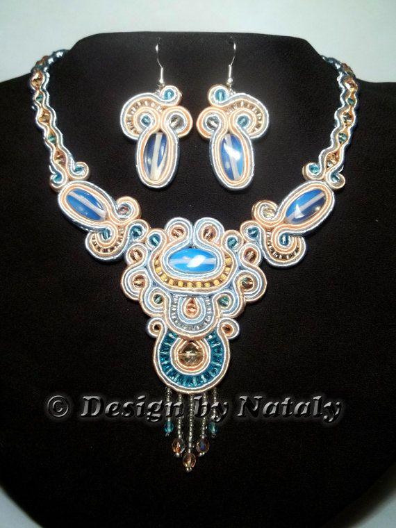 OOAK Soutache Jewelry Necklace Earrings Set by DesignByNataly, $50.00