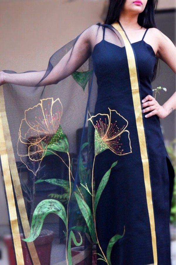 Buy Black Organza 3d Floral Handpainted Stole Online Hand Painted Dress Dress Painting Painted Clothes