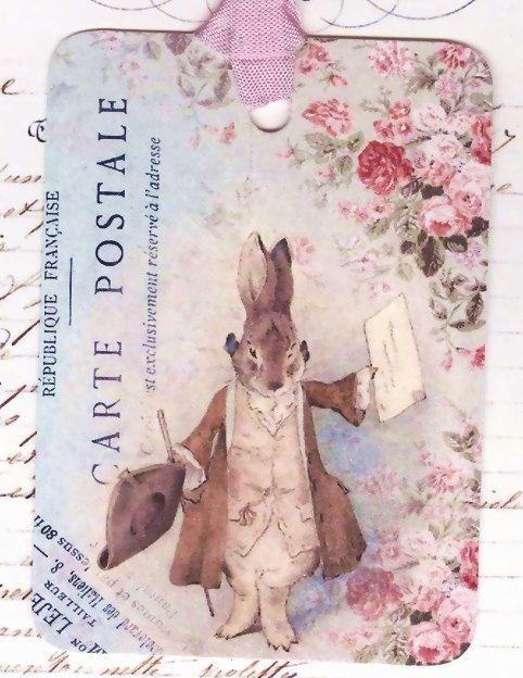 Gift Tags  French Rabbit  Dressed Rabbit  Vintage by Bluebirdlane, $6.00