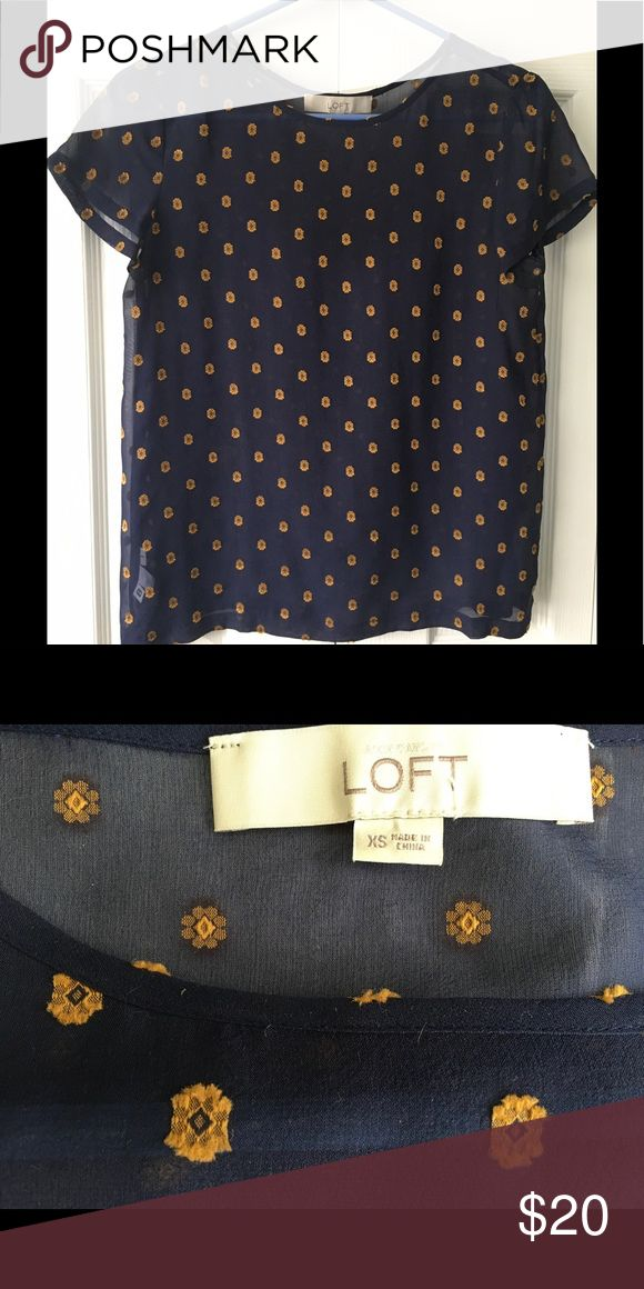 LOFT Navy & Gold Tee Sheer navy tee with gold detail / 93% silk 7% polyester / dry clean LOFT Tops Blouses