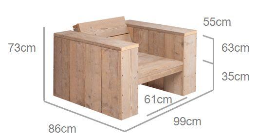 Maten voor de bouwtekening van een houten tuinstoel om te maken van steigerhout.