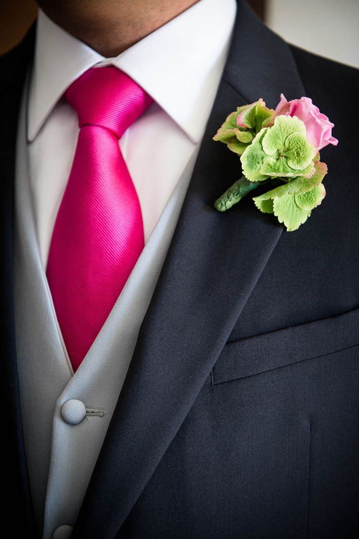 Man Wedding Suit Hot Pink Tie Boutonniere Green Hydrangea And Rose