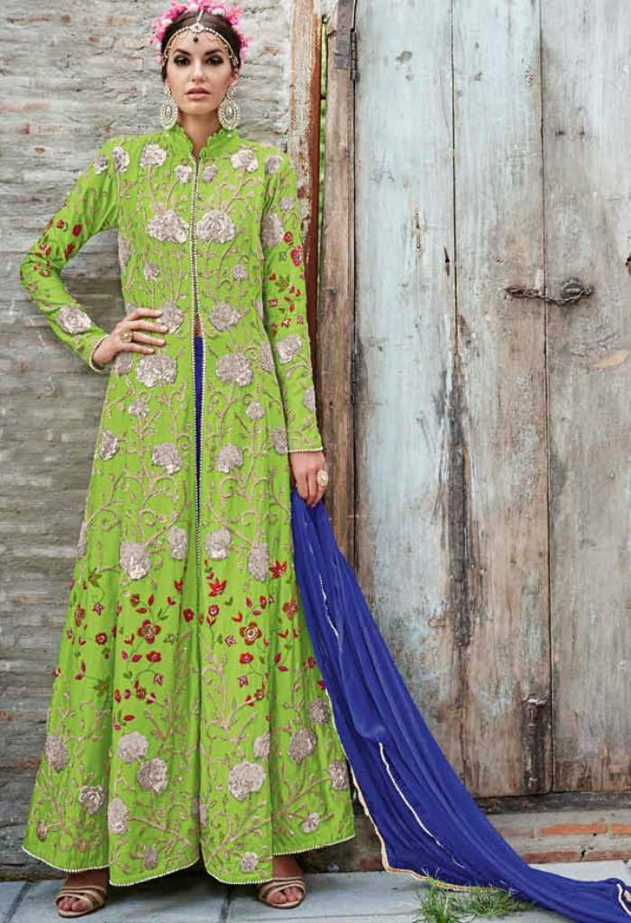 Green Crepe Designer Lehenga With Embroidery Work..@ fashionsbyindia.com #designs #indian #fashion #womens #style #cloths #fashion #stylish #casual #fashionsbyindia #punjabi #suits #dress #wedding #lehenga #choli