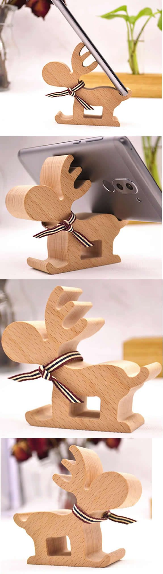 Wooden David's Deer Shaped iPhone iPad Mobile SmartPhone Holder Stand Mount for iPhone iPad and Other Cell Phone