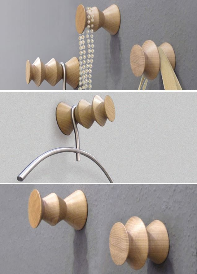 #KANTO for #designimdorf #design by #SusanneUerlings A multifunctional set of three coat hooks made from solid oak with puristic edged design – Kanto is a complete coatrack at a small scale. Each element can be used separately and can take a couple of coat hangers.