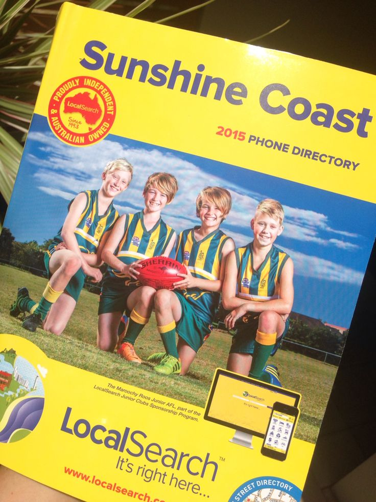 Front and centre on the Sunshine Coast telephone directory!  AFL definitely progressing in Queensland