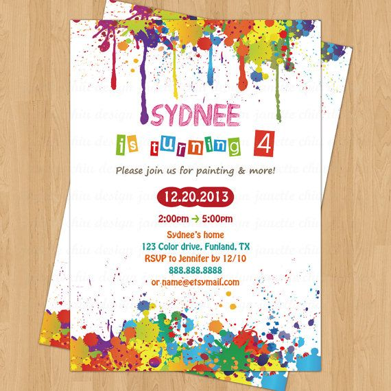 arts and crafts birthday party invitation digital