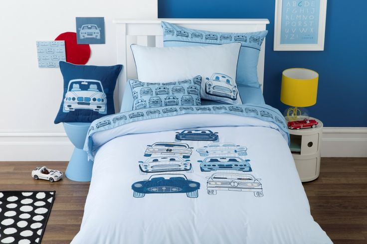 Stacked Cars for boys 3-10years old. Features sky blue base with embroidery & applique cars.  Coordinating blue sheet set with embroidery detail on cuff. 225TC Polyester Cotton Available in:  Quilt Cover sets- SB, DB & QB Sheet Sets - SB & KSB - SHEET SETS HAVE SOLD OUT AND NO LONGER AVAILABLE 45 x 45cm  Filled Cushion 45 x 30cm Filled Cushions  http://store.dreamtimeaustralia.com.au/product/stacked-cars