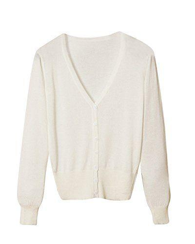 new styles ac272 b5fd3 Mujer Cardigan Escote En V Chaqueta De Punto Con Botones Blanco M