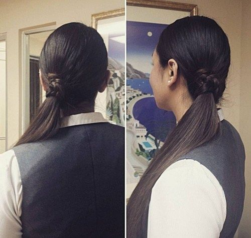 sleek low side ponytail hairstyle