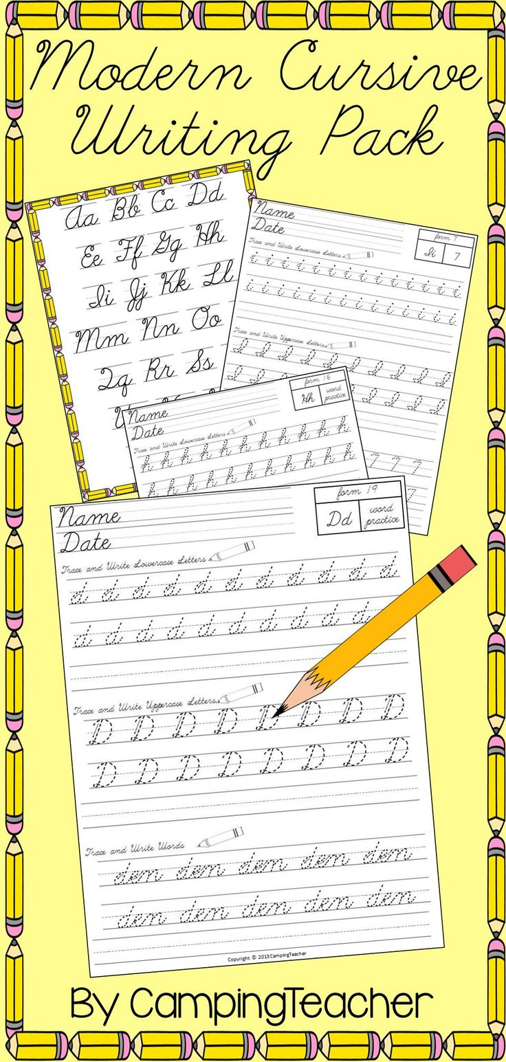 Modern Cursive Writing Pack - Handwriting Practice for D'Nealian Cursive.