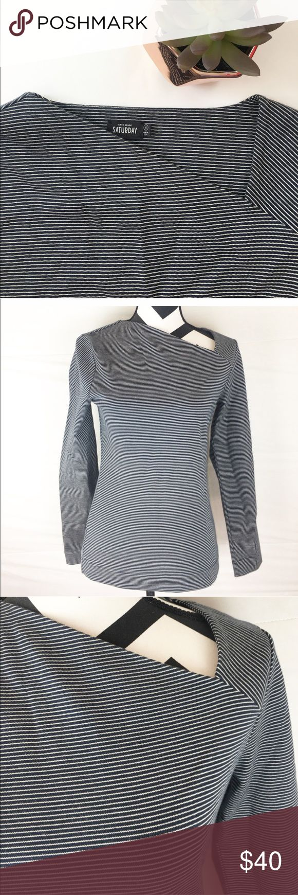 Kate Spade Saturday long sleeves top ♠️ Kate Spade Saturday NWT long sleeve top. Striped. White thin lines dark navy. Neckline goes across for design. Very pretty. 100% cotton ♠️ kate spade Tops Tees - Long Sleeve