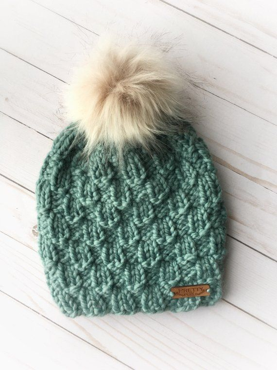 20388ec1c Adult Chunky Hand Knit Teal Pecans Winter Toque with detachable Fur ...