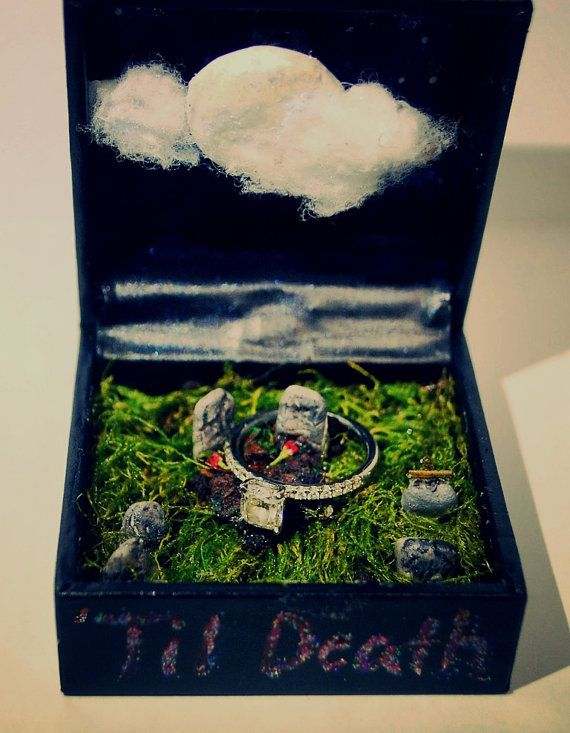 Engagement ring box diorama graveyard 'til by MyPrettyDeadThings, $30.00