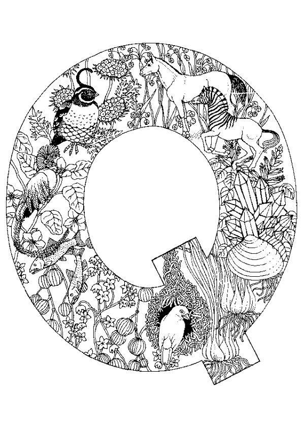 Coloriage alphabet animal q sur Hugolescargot.com - Hugolescargot.com