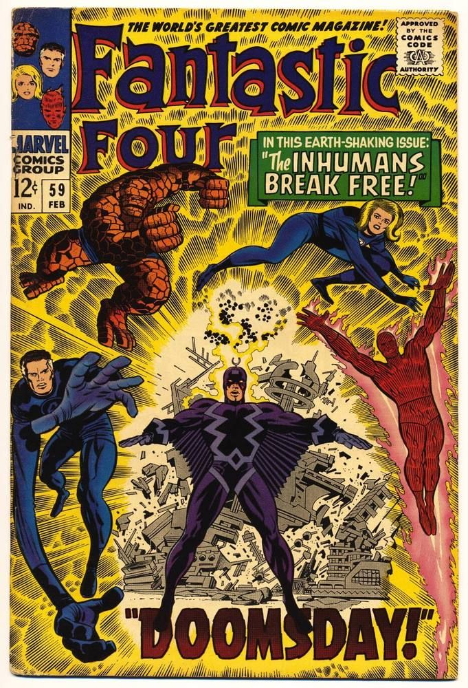 Fantastic Four 59 Vg Stan Lee Jack Kirby Doom Surfer Marvel Comics 1967 Silver Age Comic Books Vintage Comics Vintage Comic Books