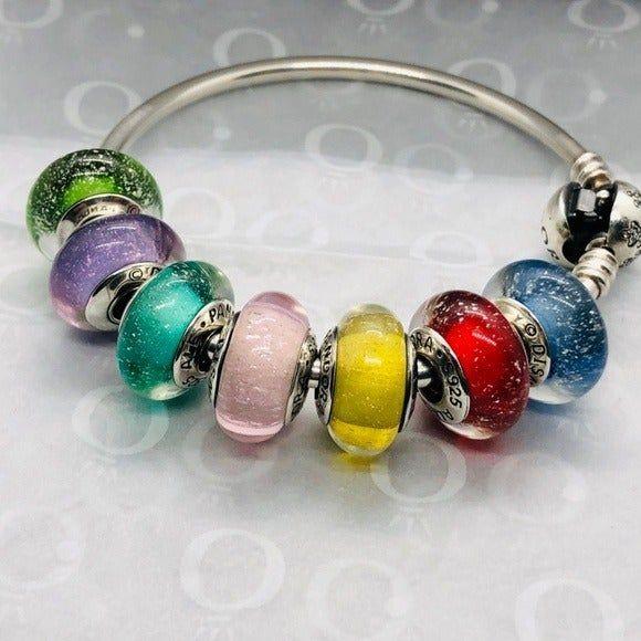 PANDORA Disney Princess Murano Glow Beads, Set of 7, all are new ...