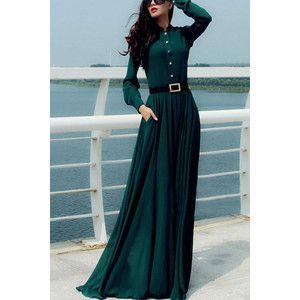 Dark Green Button Up Long Sleeve Vintage Maxi Dress
