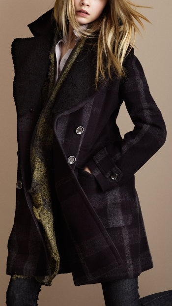 Black plaid pea coat.