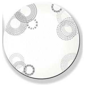 Assiette à dessert motif cercles - Diamètre 19 cm - Blanc, Gris argenté
