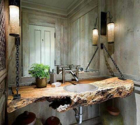 Bathroom counter, modern twist on woodsy style