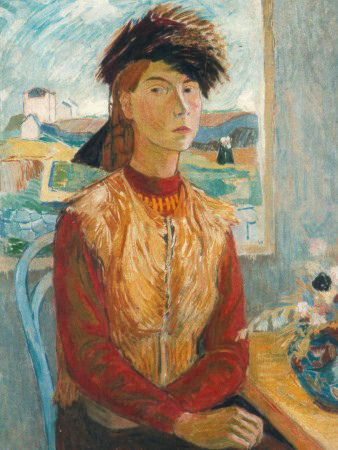 An early self-portrait by Tove Jansson. A girl sits by a table and looks straight out of the painting.
