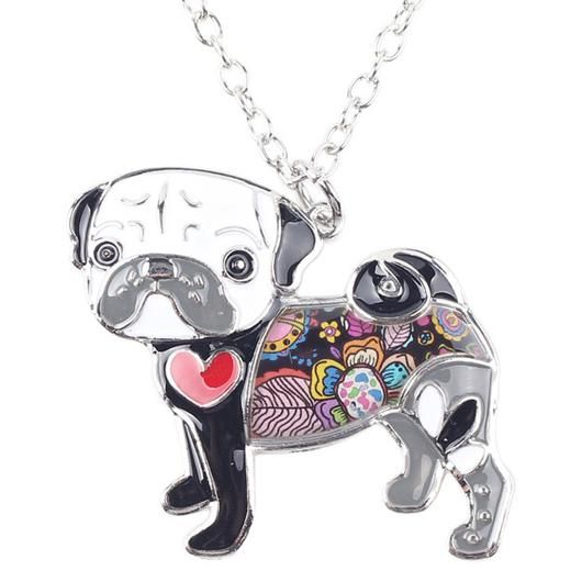 Black Pug Necklace - Square Berry Co