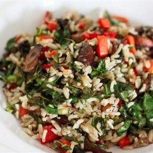 бурый рис+перец+шампиньоны+брокколи+тунец+маслины+оливковое масло+чеснок